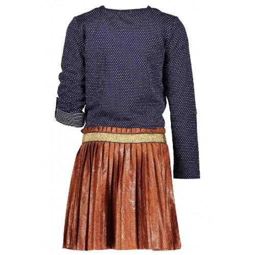 No No Kinderkleding.Nono Kinderkleding Jurk Blauw Met Leather Look Plooi Rok