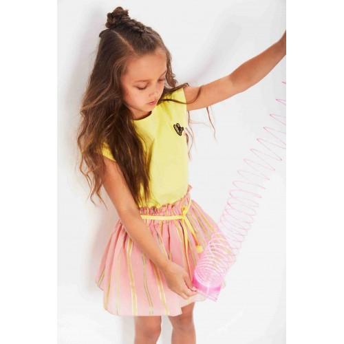No No Kinderkleding.Nono Kinderkleding Jurk Geel Met Coral Rok Zomercollectie 2019 N902